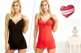 £12 instead of £78.50 (from Lily Spencer London) for a Bella babydoll lingerie set made with Swarovski Elements in red or black, £20 for both colours - save up to 85%