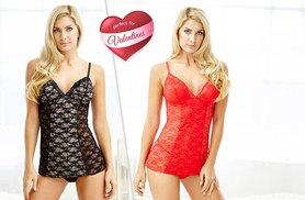 £12 instead of £89 (from Lily Spencer London) for an Estelle babydoll lingerie set made with Swarovski Elements in red or black, £20 for both colours - save up to 87%