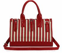 £11 instead of £39.99 for an elegant red striped ladies' handbag from Global Essentials - save up to 72%