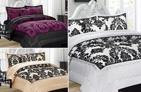 £17.99 instead of £66 (from Rynz Collection) for a three-piece quilted damask double bedspread set, £19.99 for king size - choose from 11 colours and save up to 73%