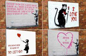 "£10 instead of £44 (from Creative Canvas Company) for a 12"" x 16"" personalised Banksy canvas print, £15 for 20"" x 30"" or £19 for 30"" x 40"" - save up to 77%"