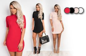 £9.99 instead of £14.99 for a stylish bodycon dress - choose black, red, white or beige and save 33%