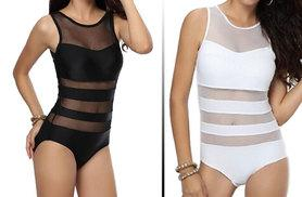 £9.99 instead of £24.99 for a bandage mesh swimsuit - choose black or white and save 60%