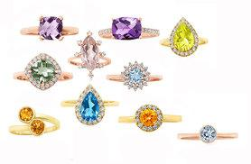 From £69 instead of up to £145 for a choice of 9ct yellow and rose gold rings with precious stones from Rocks of London - choose from 10 designs and save up to 52%