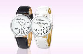 £8 instead of £34.99 (from Fakurma) for a 'Whatever, I'm Late Anyway' watch - choose from black and white and save 77%