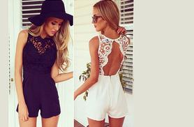 £9 instead of £34.99 for a crochet detail playsuit - save 74%