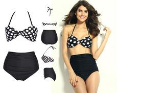 £8 instead of £24.99 (from EF Mall) for a women's vintage style high waisted black polka dot bikini - save 68%