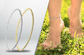 £5 instead of £29 (from Elle & Be) for an anklet made with Swarovski Elements - choose yellow or white gold plating and save 83%