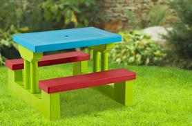 £30 instead of £69.99 (from Hungry Bazaar) for a kid's colourful wooden picnic table - save 57%