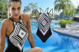 £8 instead of £29.99 (from EF Mall) for a monochrome halter neck swimsuit – splash out this spring and save 73%
