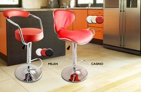 £49.99 instead of £103.99 for a set of two faux leather bar stools - choose from five styles and four colours and save 52%