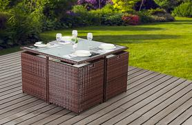 £249 instead of £999 (from Essenti) for a four-seater rattan cube garden furniture dining set, £429 for a six-seater - save up to 75%
