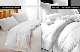 From £22.99 (from E4 Emporium) for a luxury goose feather and duvet in single to super king size plus optional pillows - save up to a dreamy 38%