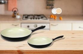 £9.99 instead of £57.01 for a 26cm ceramic-coated frying pan, £12.99 for a 30cm pan - choose white or cream and save up to 82%