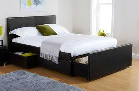 £179 for a double three-drawer storage bed, £199 for a king, or from £269 to include a memory foam mattress from Deals Direct