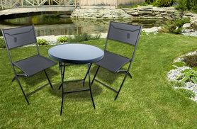 £59.99 instead of £130 (from Sashtime) for a three-piece folding patio furniture set – save 54%