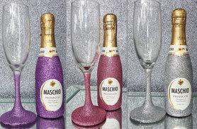 £8.99 (from Bottle Bling) for a mini glitter bottle of Prosecco and matching glass set or £14.99 for a set of two bottles and two glasses - save up to 45%