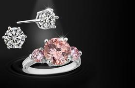 £24.99 instead of £329 for a 2.5ct brilliant-cut pink sapphire ring and white gold-plated solitaire earrings - save 92%