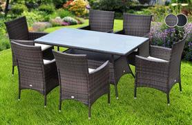 £299 instead of £679.01 for an Outsunny seven-piece rattan dining set including a glass topped table and six chairs - choose black or brown and save 56%