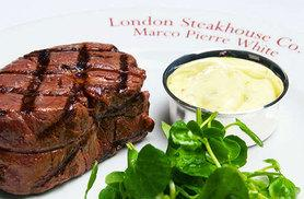 £49 instead of up to £76 for three-course dining for two people including a cocktail each at Marco Pierre White's London Steakhouse Co., City - save up to 36%