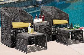 £149 instead of £452.46 for a five-piece Rattan garden furniture set with footstools - save 67%
