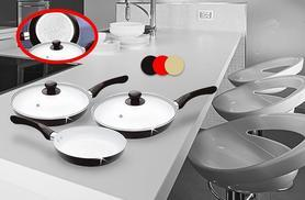 £17.99 instead of £129.95 for a five-piece non-stick ceramic-coated frying pan set from - choose black, cream or red and save 86%