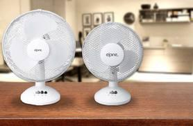 """£9.99 instead of £33 for a 9"""" desk fan with two speeds, or £12.99 for a 12"""" desk fan with three speeds - save up to a fan-tastic 70%"""