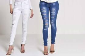 £11.98 instead of £29.99 (from The Fashion City) for a pair of super skinny ripped jeans - choose denim or white and save 60%