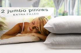 £5.99 instead of £39.99 for two extra filled jumbo pillows, £9.99 for four - save up to 85%