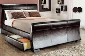 £149 for a double four-drawer faux leather storage bed, £169 for king size - choose from three colours and save up to 81%