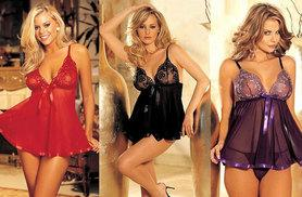 £6 instead of £34.99 (from EFMall) for a floral embroidered babydoll and G-string - choose black, purple or red and save 83%