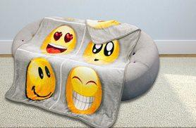 £14.99 instead of £36.01 (from JMD Online) for a large emoji faux fur throw or £19.99 for an extra large - save up to 58%