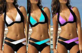 £8 instead of £34.99 (from Who Runs the World) for a double strap colour block bikini - choose from three colours and save 77%