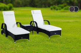 £189 instead of £380 for a three-piece rattan furniture set including two sun loungers and a table - choose black or brown and save 50%