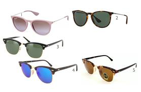 From £58 for a pair of Ray Ban sunglasses - choose Erikas, Clubmasters or Aviators and save up to 38%
