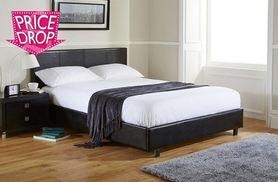£145 for a single faux leather bed and memory foam mattress, duvet and pillow, £175 for a small double or double, £195 for a king size - save up to 72%