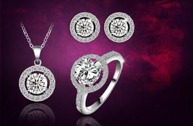 £12 instead of £189.99 for an 18k white gold-plated halo tri set - save a sparkling 94%