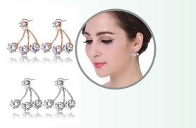 £10 instead of £54.99 (from Fakurma) for two pairs of double crystal claw earrings in silver and gold - save 82%