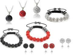 £9 instead of £150 (from Alvi's Fashion) for a Shamballa-style bracelet, necklace and earrings set in black, red or silver - channel A-List style and save 94%