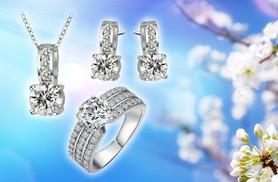 £12 instead of £199.99 for an 18k white gold-plated crystal set including a ring, earrings and necklace - save 94%