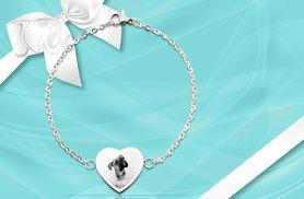 £12 instead of £49.99 for a personalised Aphrodite heart chain bracelet from British Gem - engrave your own photo and save 76%