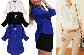 £6 instead of £29.99 (from EFMall) for a chiffon button-up blouse - choose white, black or blue and save 80%