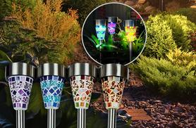 £12 for a set of six solar mosaic garden post lights - light your garden wirelessly