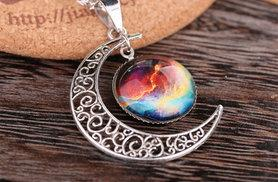 £8 instead of £49.99 (from Girly Glitz) for a galaxy and moon necklace - save 84%