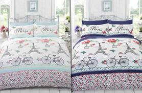 £9 instead of £29.70 (from Linens 'R' Us) for a single Parisian print duvet set, £11 for a double, £15 for a king size duvet – choose from two colours and save up to 70%