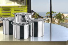 £18 (from Direct2publik) for a four-piece stainless steel stock pot set