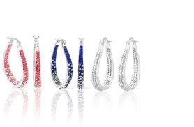 £5 instead of £84 (from Evoked Design) for a pair of inside out crystal hoop earrings, £9.98 for two pairs or £14.99 for three pairs - choose from silver, pink or blue and save 94%