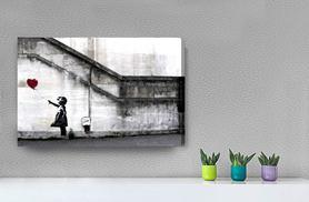 £4.99 instead of £29.99 (from DecoMatters) for an A4 Banksy canvas print, £6.99 for an A3 canvas, or £7.99 for an A2 canvas- save 83%
