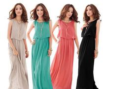 £8 instead of £22 (from EFMall) for a bohemian chiffon maxi dress - choose from black, watermelon red, green and grey and 64%