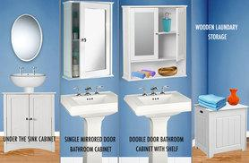 £14.99 instead of £69.00 (from E4 Emporium) for a mirror cabinet, £29.99 for an under sink cabinet & £27.99 for a laundry box - save 78%